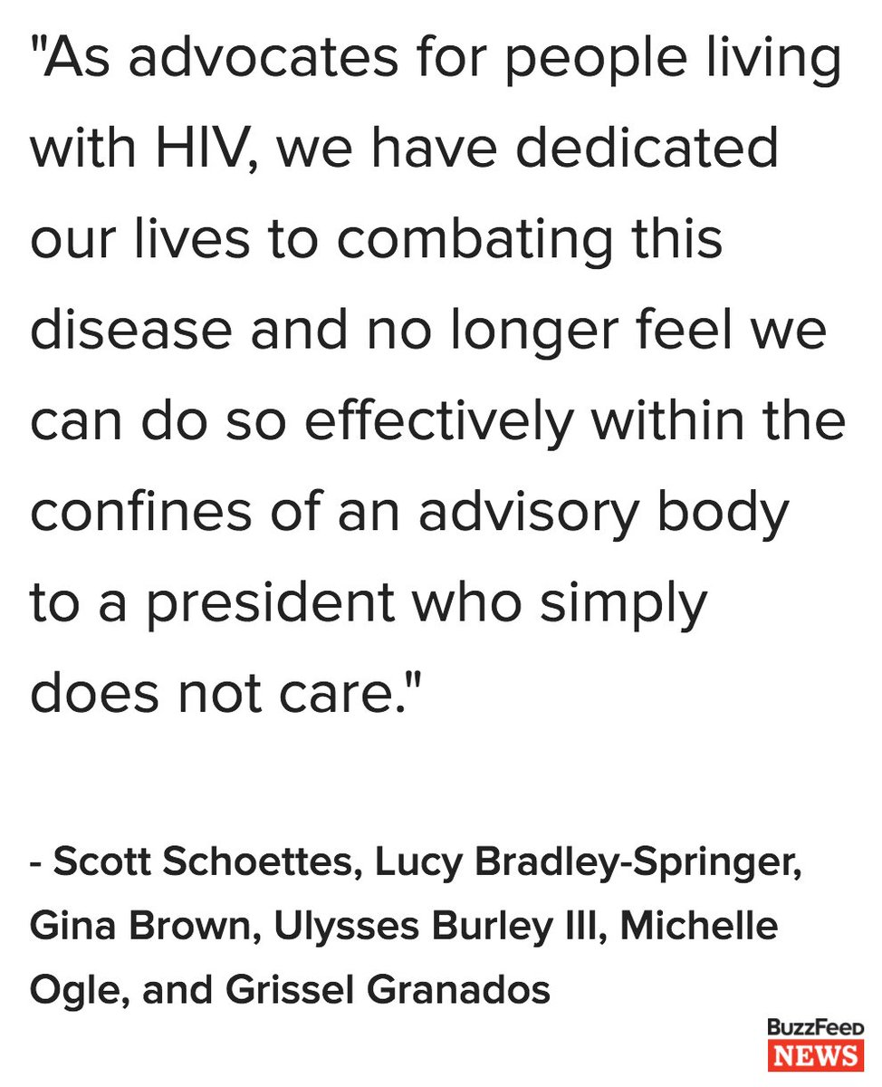 Six people have resigned from Trump's HIV/AIDS advisory council because he 'doesn't care' https://t.co/anZn0emQ7S