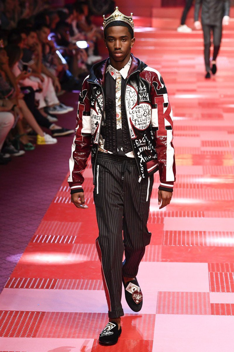 Christian Combs, Cordell Broadus + Diggy Simmons walk for Dolce & Gabbana SS18 show.