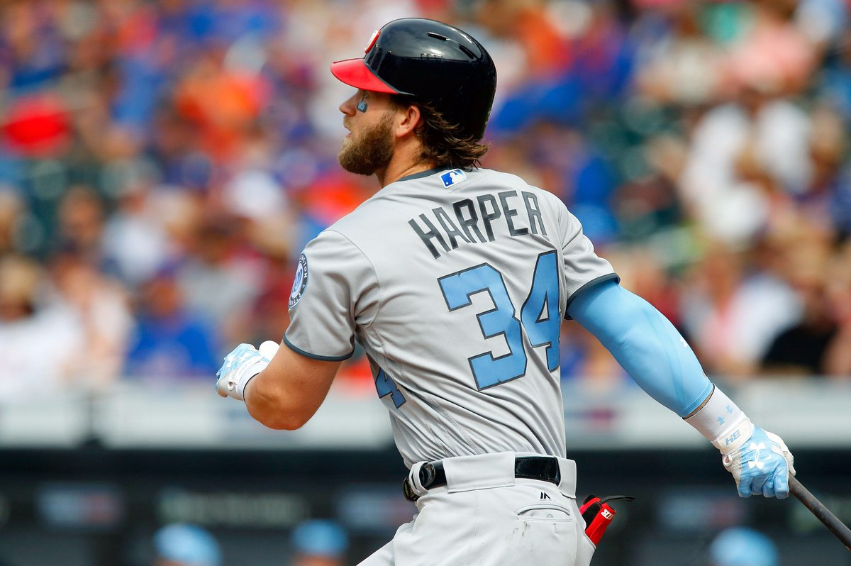 Bryce Harper extended his hitting streak to 10 games this afternoon....