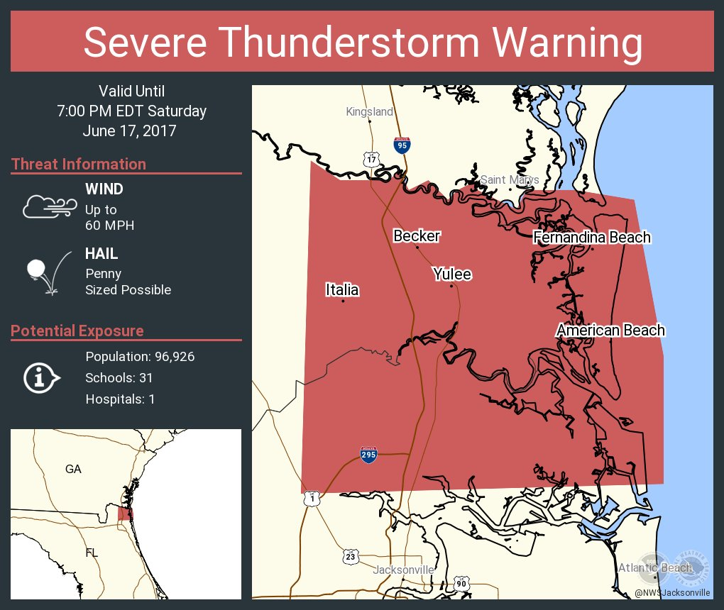 Amelia City Florida Map.Nws Jacksonville On Twitter Severe Thunderstorm Warning Continues