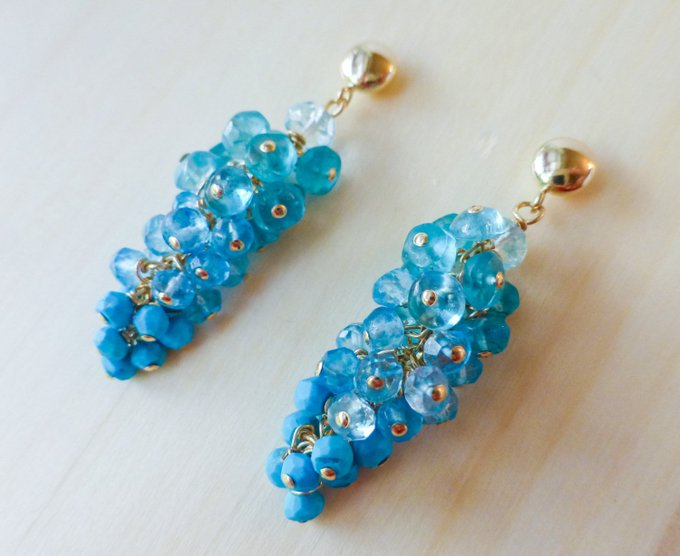 Turquoise Earrings Blue Earring Aquamarine Earring Topaz Earrings Gemstone Earrings Gold Earring Wire Wrapped Blue Cluster Earrig