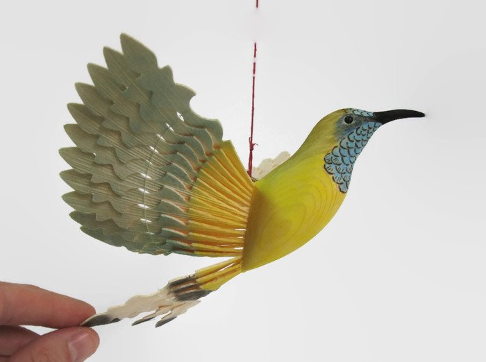 Hand Carved Bird Mobile Olive Backed Sunbird Wood Carving  http:// etsy.me/2pNWeyv  &nbsp;   via @Etsy #woodenbird #KPRS #Retweettrain #addthis #like2<br>http://pic.twitter.com/BcniHhKCDF