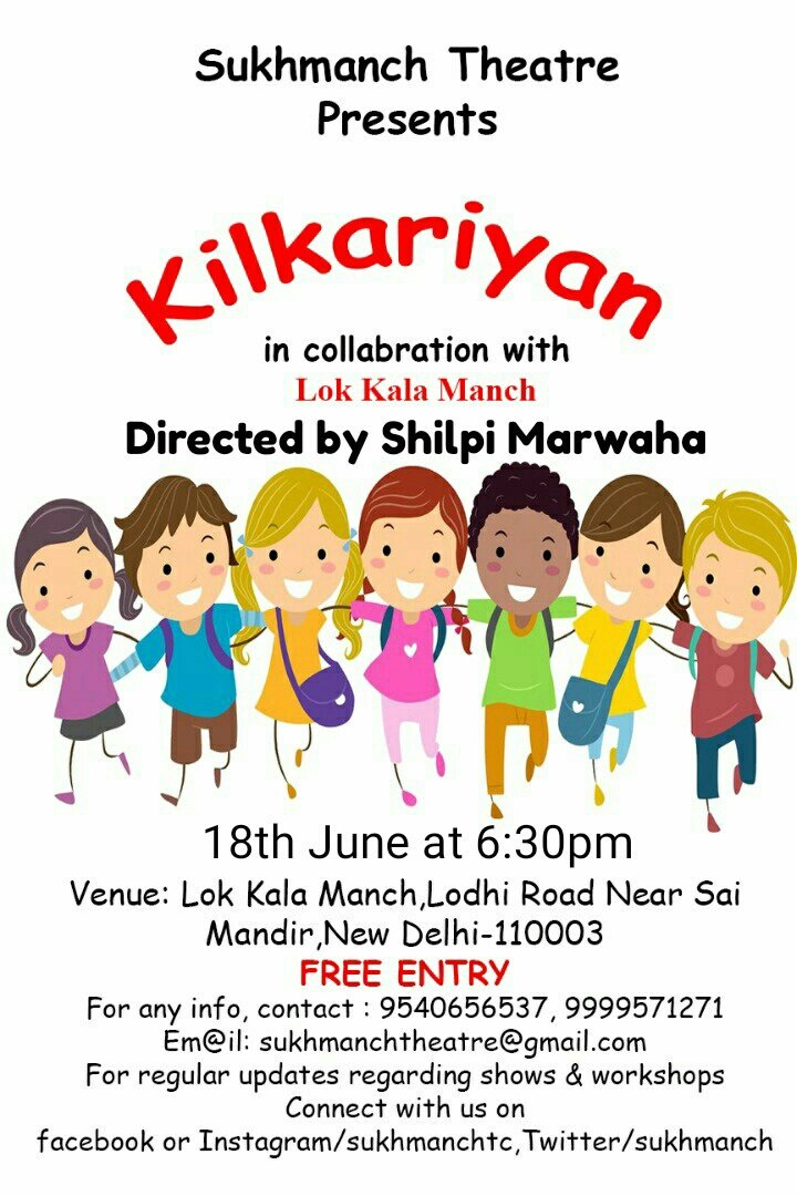 Witness the magic of #kids- Pure, raw #talent on #stage.Kilkariyan Directed by @ShilpiMarwaha at 6:30pm,Lok Kala Manch Lodhi road #FreeEntry<br>http://pic.twitter.com/rQCvKgvDYd