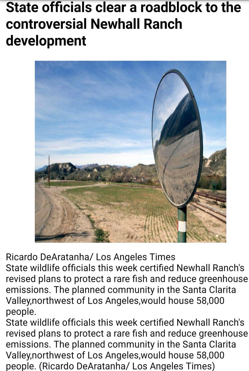 State officials clear a roadblock to the controversial Newhall Ranch development, NW of #LosAngeles  http://www. latimes.com/local/la-me-ne whall-ranch-approval-20170615-story.html &nbsp; …  #Ecology #DWMN<br>http://pic.twitter.com/2TndbRCdtz