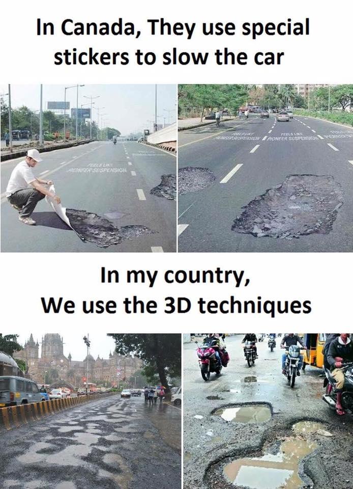 カナダでは車の速度を落とすのに、スペシャルステッカーを使うが、われわれの国インドでは、3D技術を用いる。 facebook.com/ArchiDesiign/p…