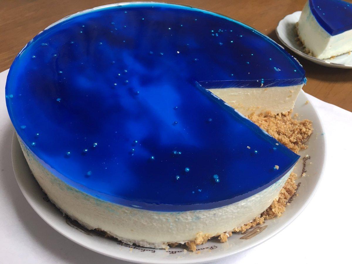 昨日作った宇宙レアチーズケーキ(◍ ´꒳` ◍)宇宙部分は寒天です