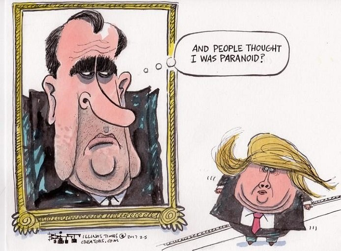 Nixon had thousands of hours of tapes for congress to go through,Trump has a thousand  ,fill in the blank,to go through! #Trump/Russia <br>http://pic.twitter.com/0WyQycX6Ct