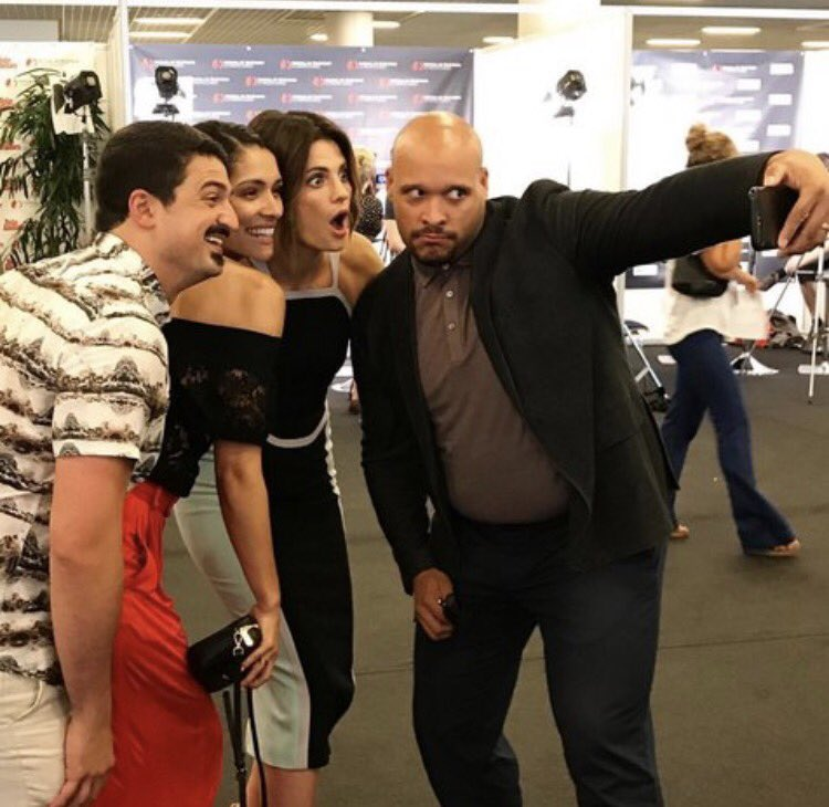 .@Stana_Katic posing for a quick selfie with @NBCChicagoFire&#39;s @DaMinoshow @msmayoalldayo &amp; @yursar!  #MonteCarlo #Absentia : @PiperAki_<br>http://pic.twitter.com/n71lRl4spo