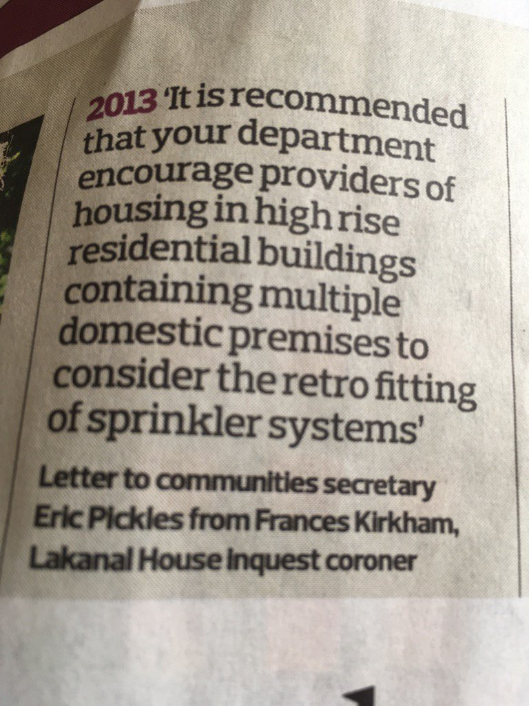 Chancellor Phillip Hammond says wait for expert advice on fitting sprinklers. Coroner has already made recommendation