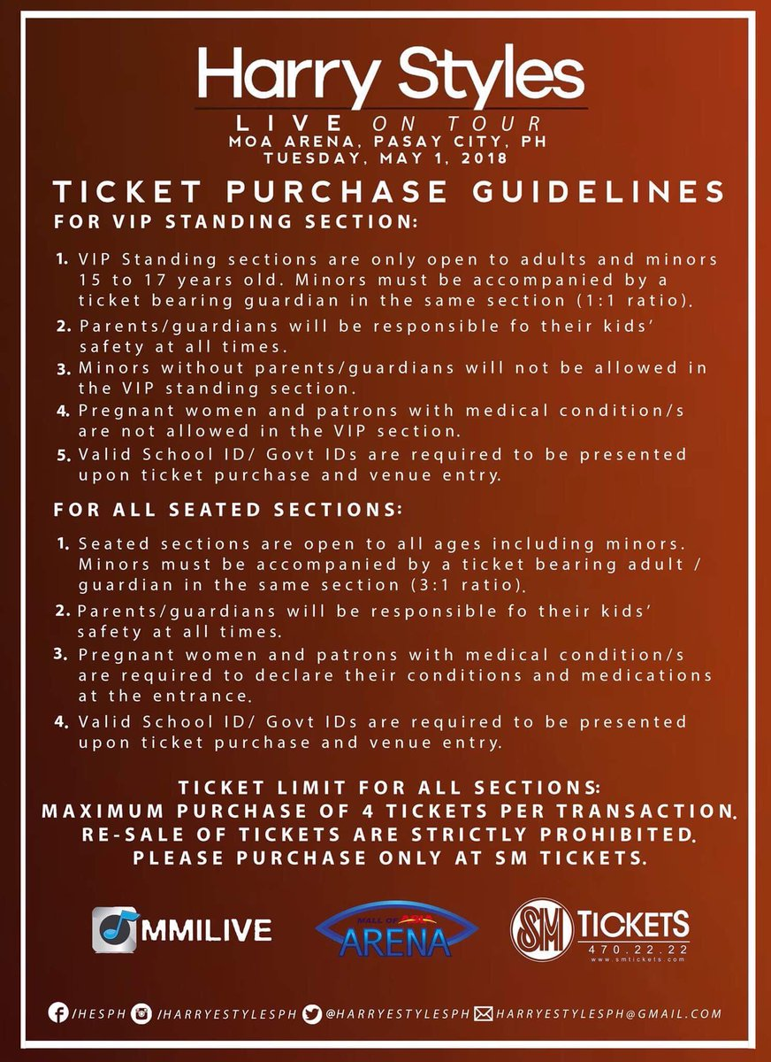 Harry Styles Ph On Twitter Ticket Purchase Guidelines Faqs And