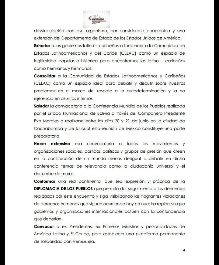 Declaración final del Encuentro de los Pueblos por la Paz la Soberanía y el Futuro - México 2017 (Parte II)