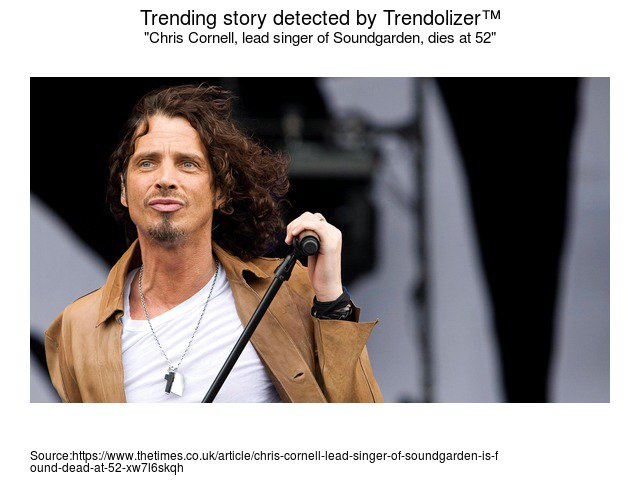 #Chris#Cornell, #leadsinger of #Soundgarden, dies at 52 #Audioslave #songwriter...  http:// bond.trendolizer.com/2017/06/chris- cornell-lead-singer-of-soundgarden-dies-at-52.html &nbsp; … <br>http://pic.twitter.com/Db3J3Hk9jf