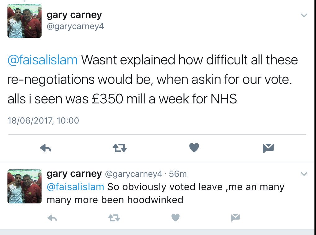 Mandates. For those on here who say NHS promise didn't matter..Leave-voting retired fireman Gary wants to know why he was 'hoodwinked':