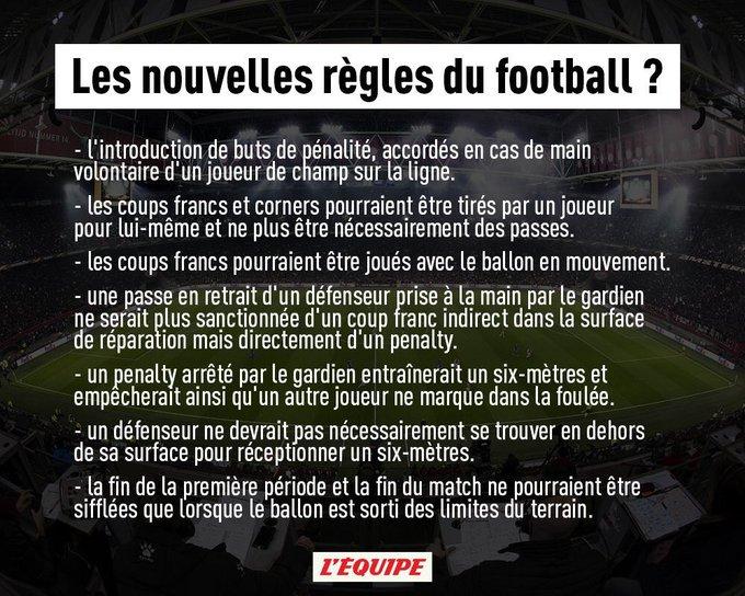 Voir l'image sur Twitter Découvrez les nouvelles règles du football : Désormais, la fin du match ne pourra être sifflée que si…