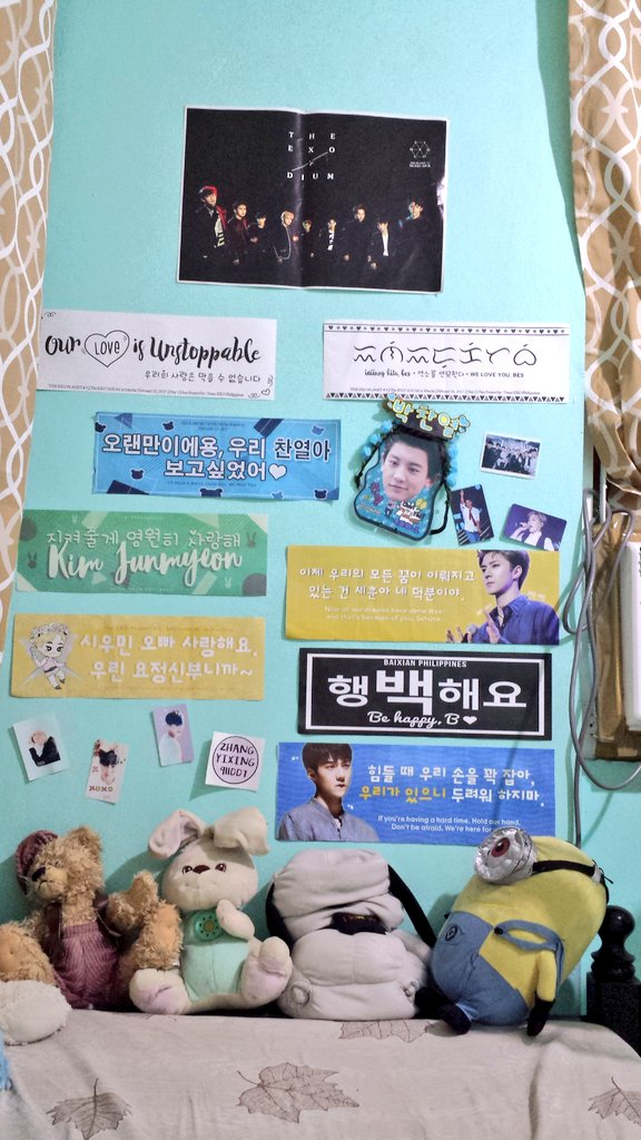 One lazy afternoon vandalism. A typical #EXO-L room  Some of #EXOrDIUMInManila memorabilias  <br>http://pic.twitter.com/0m9MhsMqgK