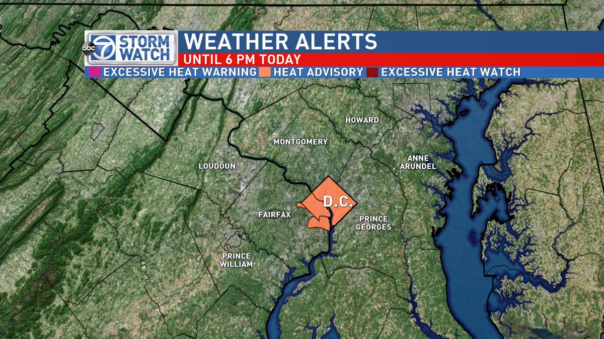 Keep cool! Heat Advisory posted for the #District, #Arlington and #Alexandria until 6 PM. @ABC7News #weather #DMV #HappyFathersDay<br>http://pic.twitter.com/yZBIiRIBZo