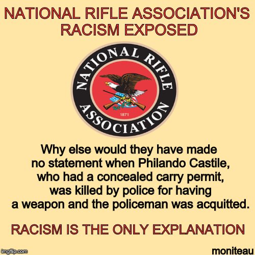 #NRA racist organization #resist #resistance #TheResistance #indivisible #UniteBlue #GOP #DontheCon #MAGA #Trump #FoxNews #Trump45<br>http://pic.twitter.com/3d38wOACf1