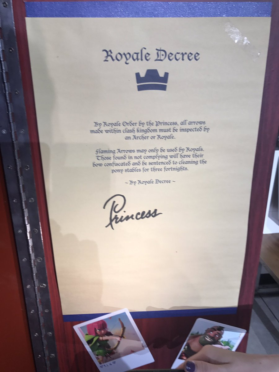 A few asked for a pic of the Royale Decree from the Princess's locker! #ClashRoyale