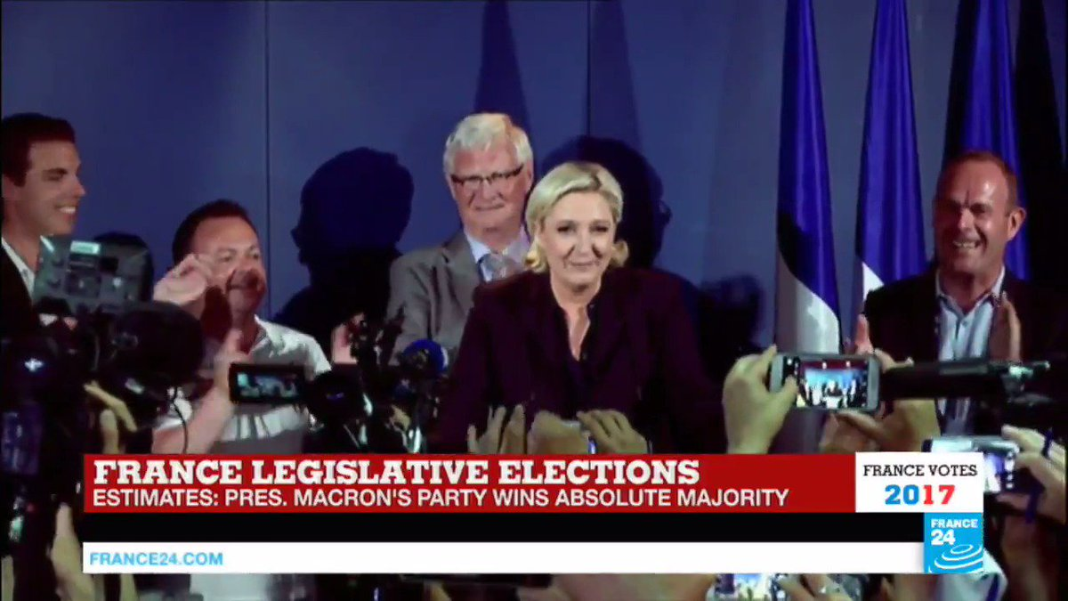 🇫🇷 Marine #LePen elected to parliament for the first time in #Legislatives2017 ⬇