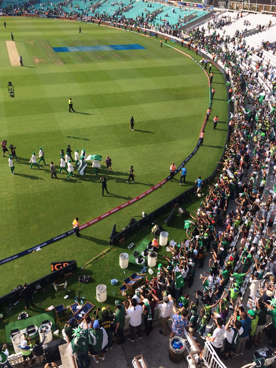 Lap of honor by the ICC #CT17 CHAMPIONS. #BeyondBoundaries #CT2017Final #MGCricket #INDvPAK