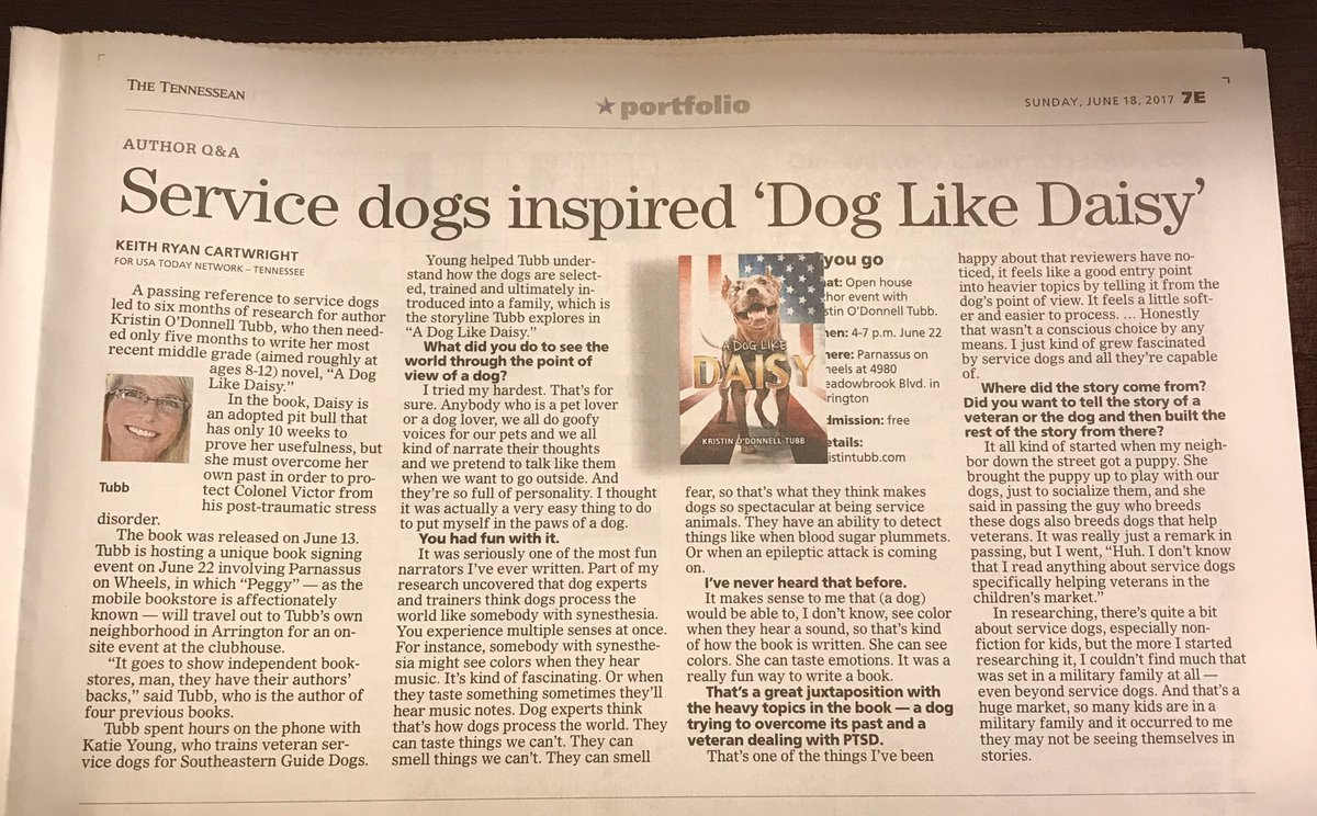 A DOG LIKE DAISY is in @Tennessean! Thank you @ProfessorKRC for the interview. Great fun chatting with you! #alike <br>http://pic.twitter.com/ox1W2fmvju