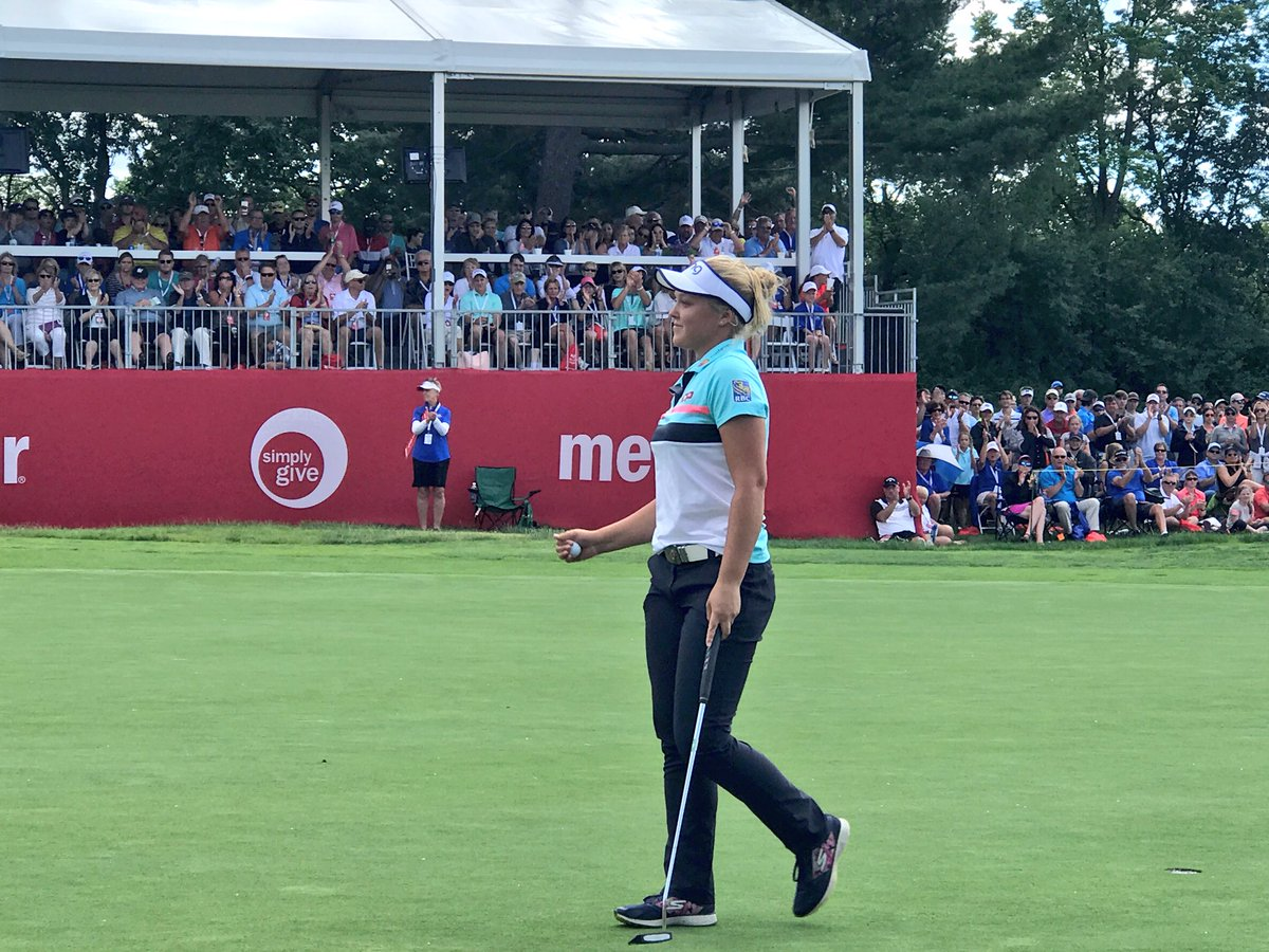 .@BrookeHenderson makes par at the 18th and remains with a two shot le...