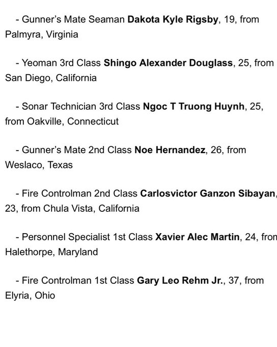 The Navy has released names of the 7 sailors who died in Fitzgerald collision; youngest was 19 years old. RIP