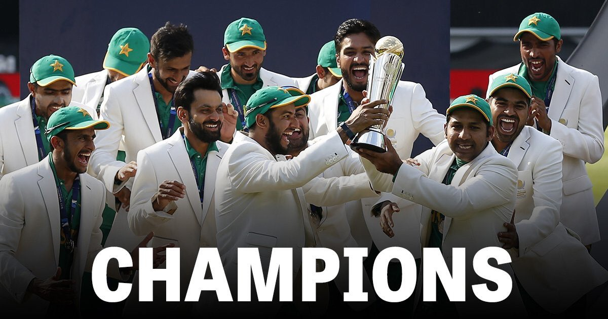 Congrats to @TheRealPCB such worthy champions after that clinical display beating @BCCI This is why we love the game https://t.co/bXUapHi8nX