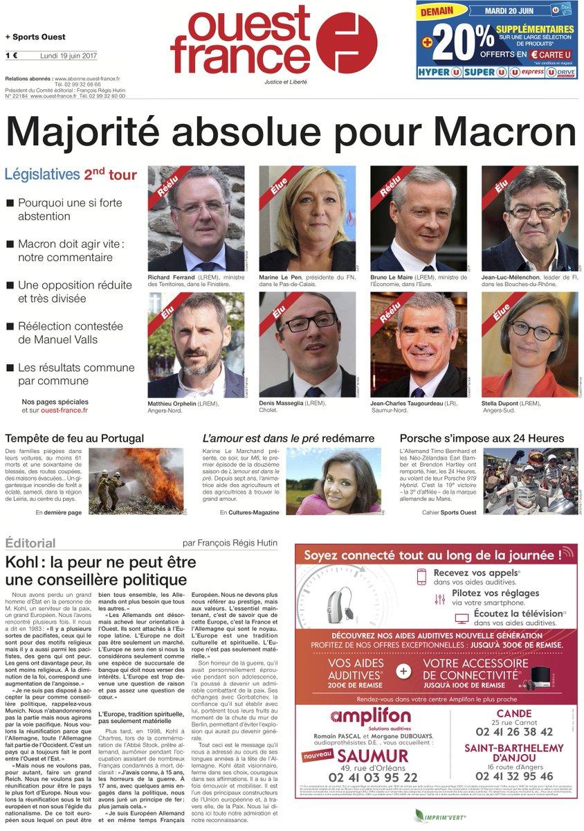 #Législatives 4 des 12 Unes de Ouest-France à lire dès demain (disponible  aussi dans sa version 100% numérique) https://abonnement.ouest-france.fr/  ...