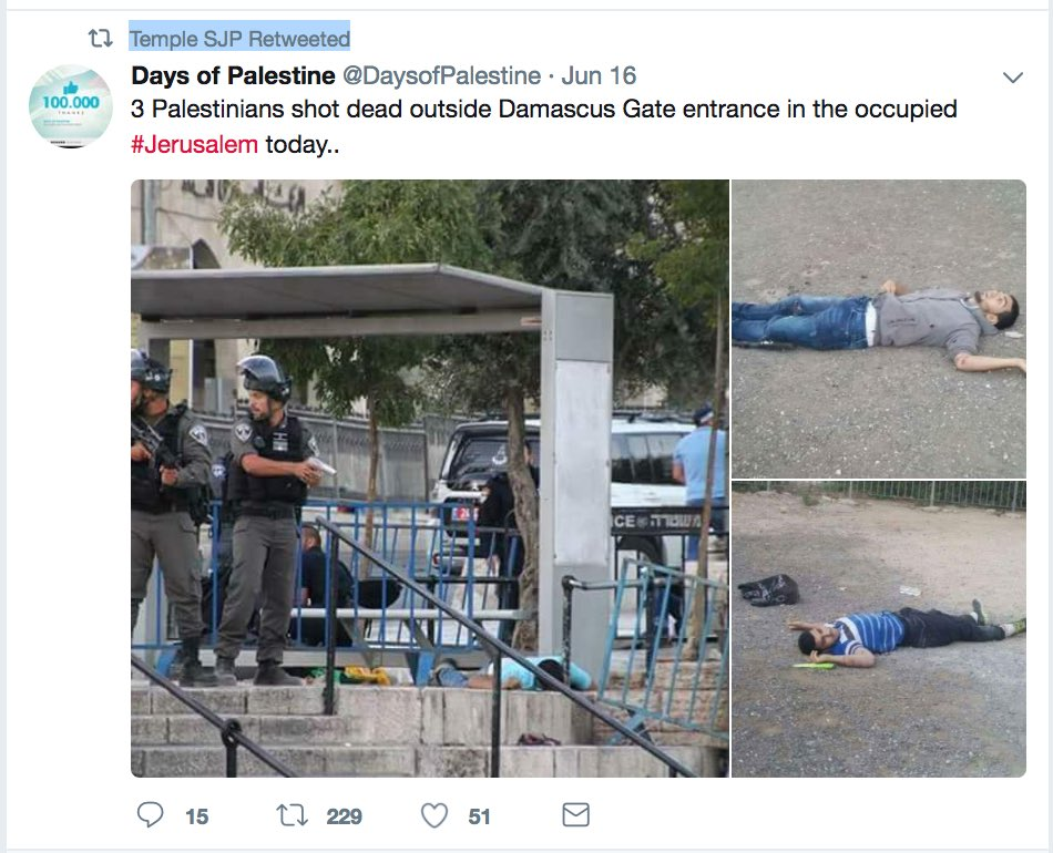 ISIS claimed credit for 3 Palestinians killing an Israeli cop. After, @TempleUniv SJP presented the dead terrorists as victims! Shameful!<br>http://pic.twitter.com/zSHlIcFy61
