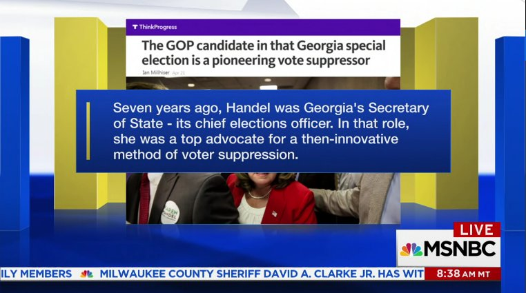 #KarenHandel &quot;is a pioneering vote suppressor&quot;  http://www. msnbc.com/am-joy/watch/v oter-suppression-accusations-against-gop-persist-970638403830 &nbsp; …  #GA06 #VoterSuppression #ElectionFraud #UnHackTheVote #Resist<br>http://pic.twitter.com/gbdLsLm55y