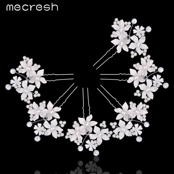 Mecresh 6Pcs/Lot Fashion Crystal Pearl Hair Pins Silver