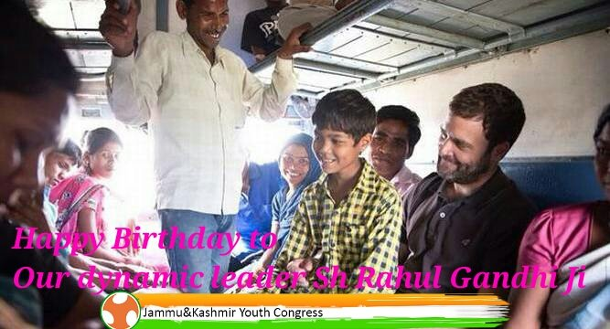 J&K PYC wishes a very Happy Birthday  to Shri Rahul Gandhi Ji.