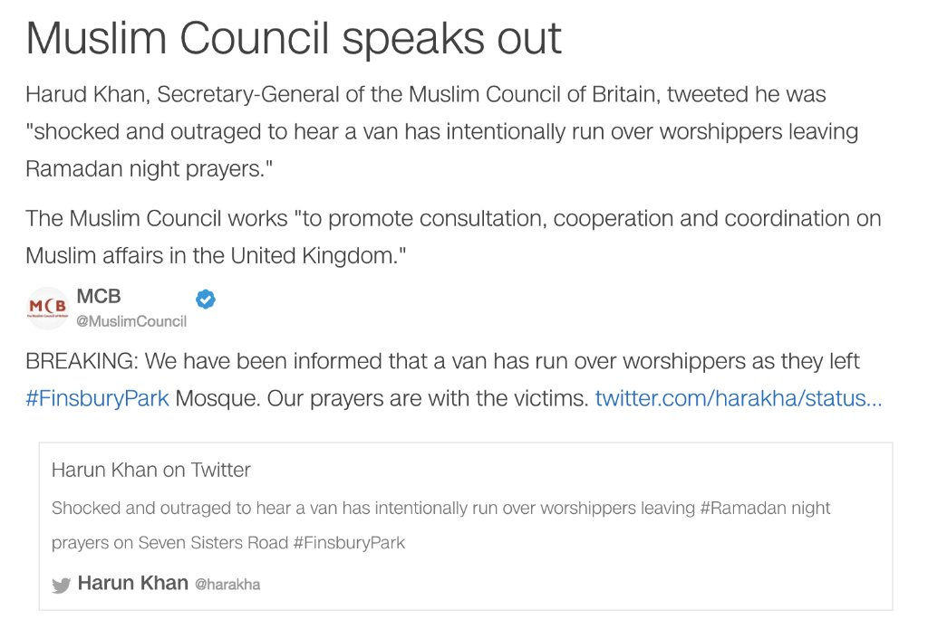 The Muslim Council of Britain speaks out after an incident of a vehicle collision with pedestrians in London  https://t.co/CUTdX09Akp