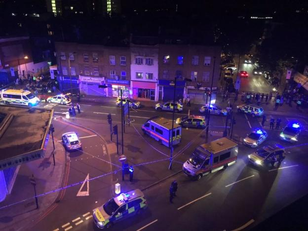 Several people were injured in north London after a van hit people as they were leaving Finsbury Park mosque.