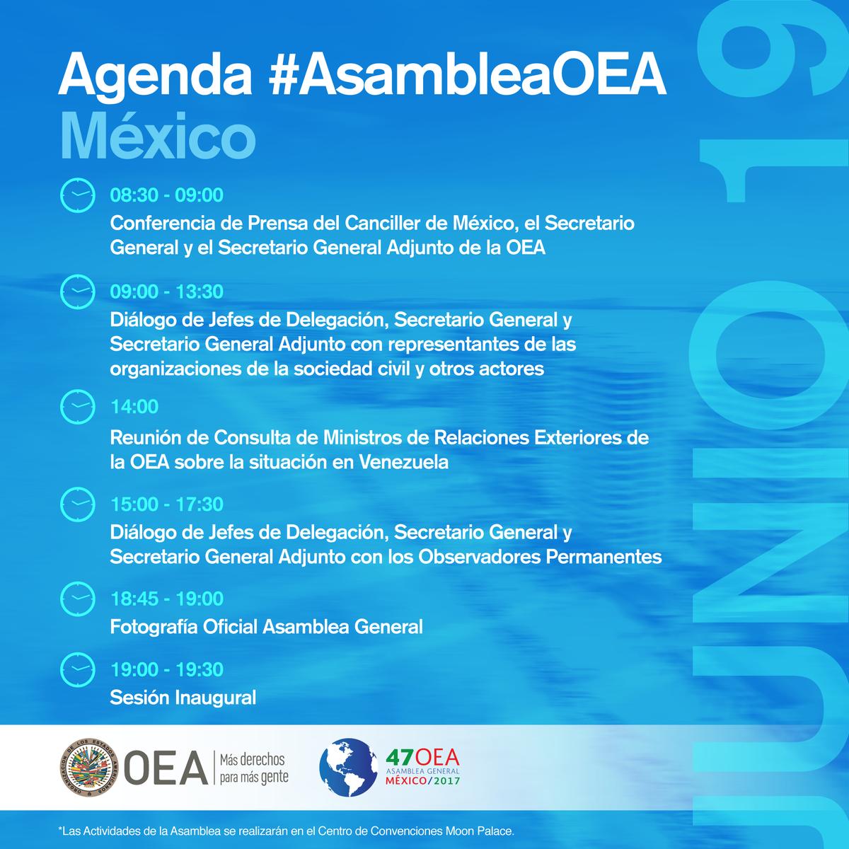 [AGENDA 19 DE JUNIO] #AsambleaOEA @gobmx @SRE_mx  Más información: htt...