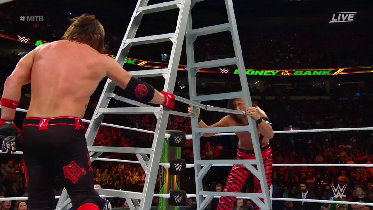 Peek-A-Boo...I see the #WrestleMania Main Event of a lifetime...  #MITBpic.twitter.com/aobeLQnTKL
