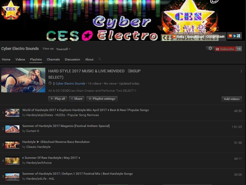 #HARDSTYLE 2017 #MUSIC &amp; #LIVE VIDEO  &quot;#BIGUP SELECT&quot; #CES✪ #BigRoom #MainStage #HardTrance #Youtbe #Festival #DJset  https://www. youtube.com/playlist?list= PLQBJ_I4Wz9OnRqP9s0DJWvxcQ4cs5fMoZ &nbsp; … <br>http://pic.twitter.com/emO4zVwtOT