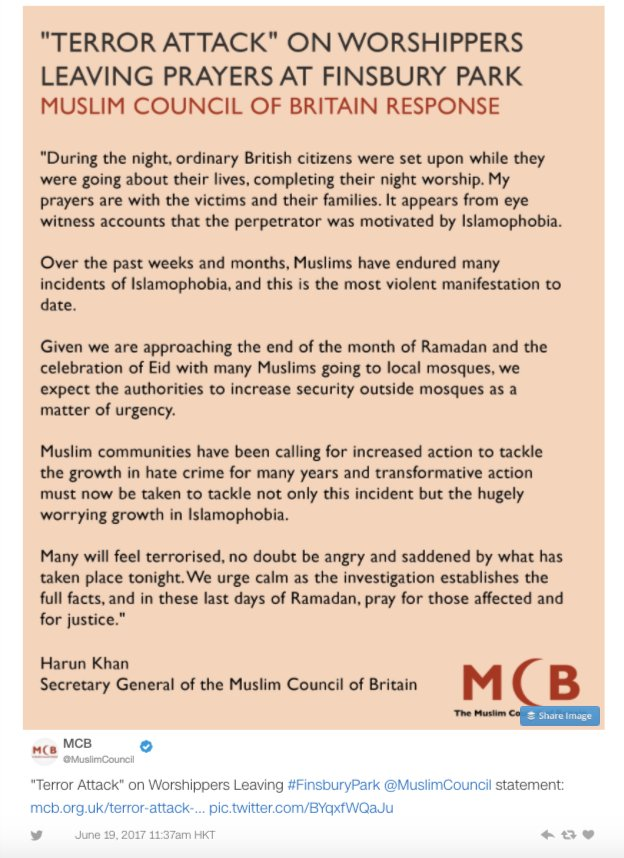 The Muslim Council of Britain has released a statement calling on authorities to increase security outside mosques https://t.co/WAWDYWmqmP