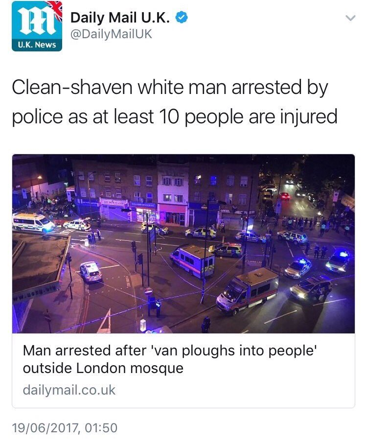 Thoughts with all in Finsbury Park. Innocent lives lost to terrorism once more. Yes, Daily Mail. Terrorism. https://t.co/9TPPQ0Pyvr