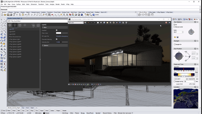 V-Ray for Rhino – Quick Start: Nighttime Exterior Lighting