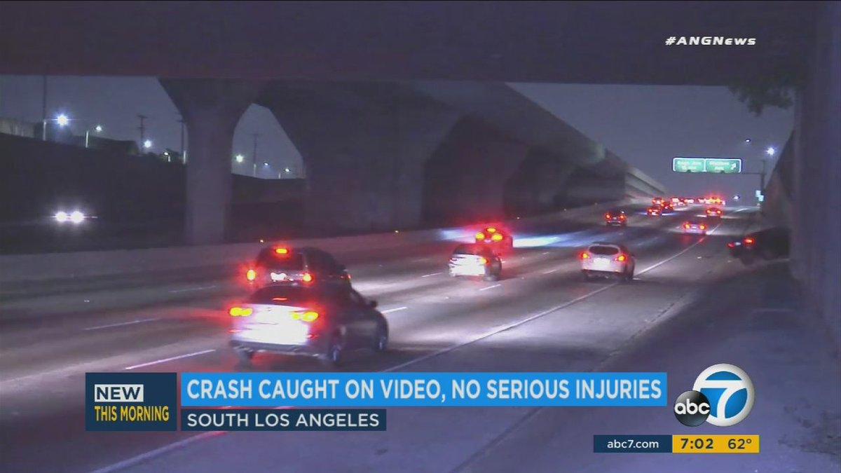 Wild car crash caught live on 110 fwy in south la - scoopnest.com