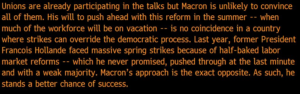 Can #Macron now reform the labor market? Yes, because his approach is the exact opposite of #Hollande&#39;s. My take:  https:// bloom.bg/2sNPkLm  &nbsp;  <br>http://pic.twitter.com/wQxShWPftg