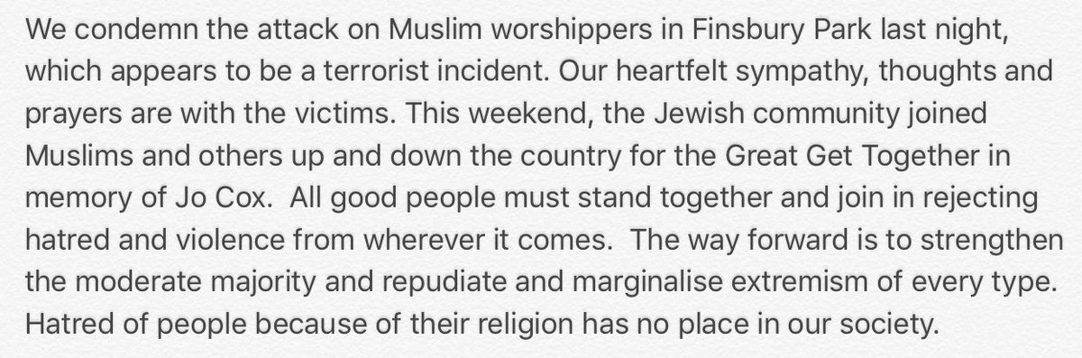 Statement from @BoDPres Board of Deputies President Jonathan Arkush about last night's #FinsburyPark attack: https://t.co/7v05DvLkL4