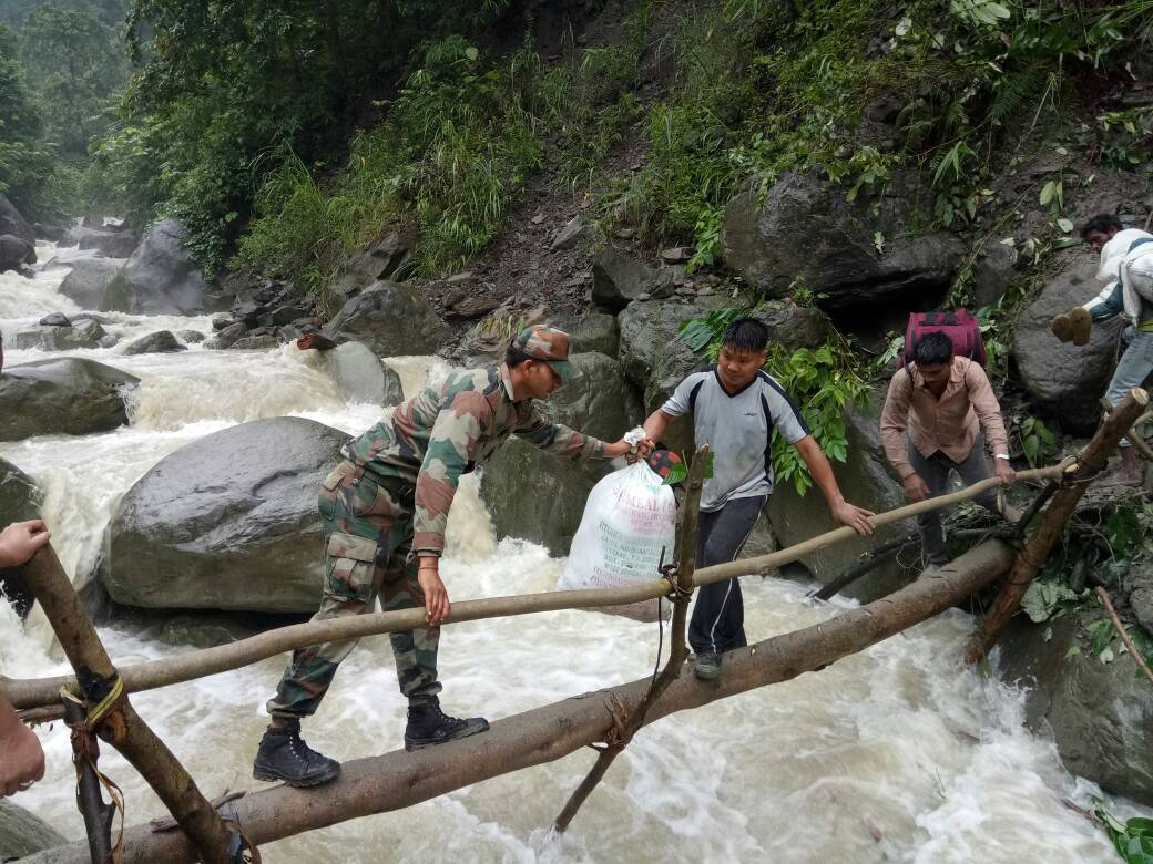Arunachal Pradesh: Army rescued 200 civilians, including 50 children, who were stranded due to massive landslides in West Kameng district.