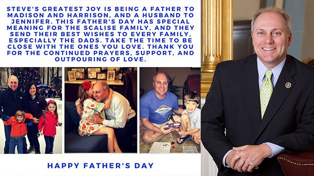 Wounded congressman @SteveScalise sends #FathersDay2017 message https://t.co/g3scyCpzlK