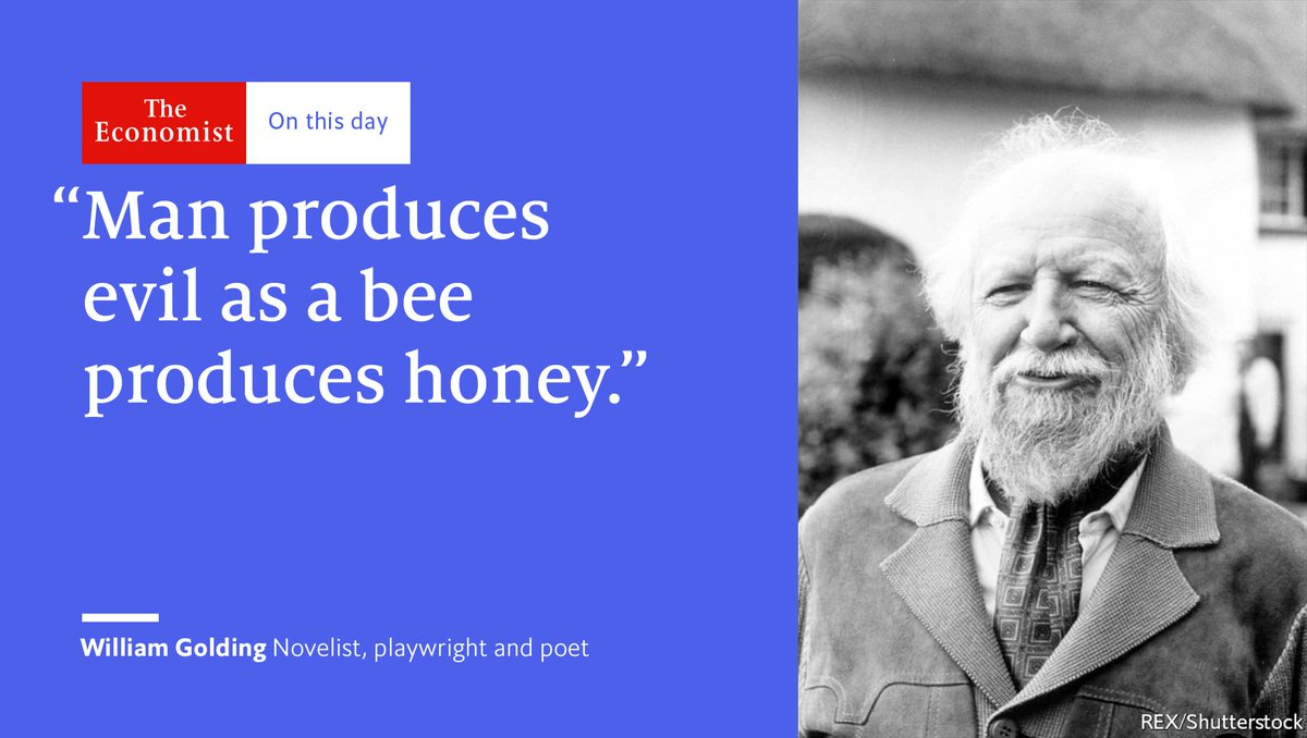 William Golding died #OnThisDay 1993. Fear was his sharpest emotion, the fear of writing being one of the worst https://t.co/xbVvUsWOgE