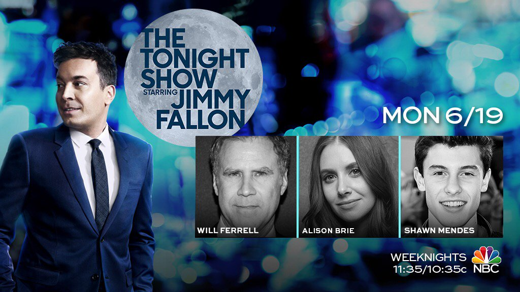 Tonight we have Will Ferrell, @alisonbrie & music from @ShawnMende...