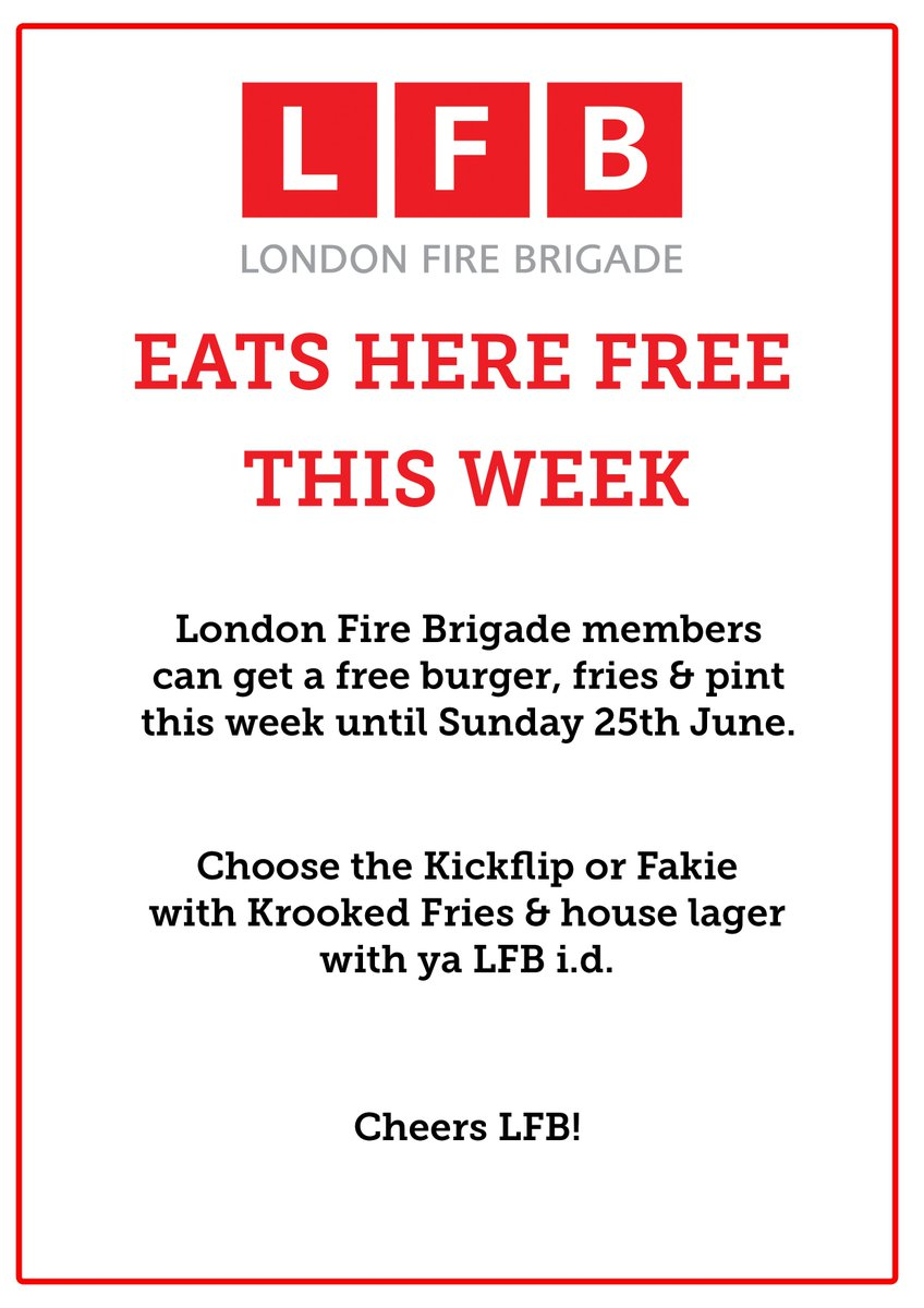 We're offering free burger, fries and a pint to the London Fire Brigade this week. Please help us spread the word! https://t.co/VDkkylaGFQ