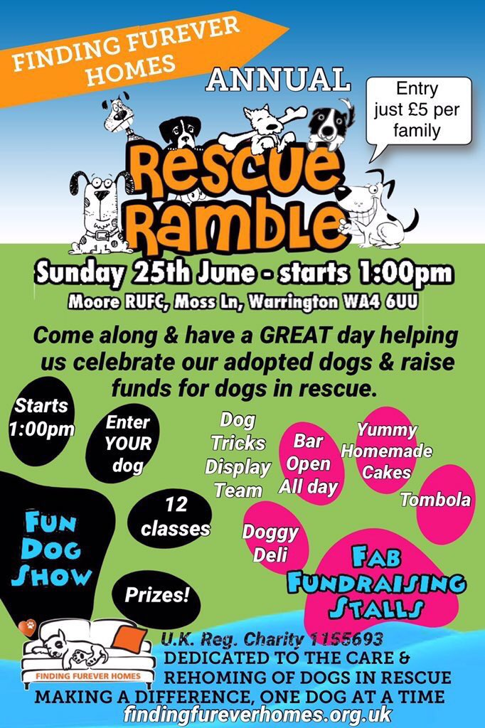 #6Days &amp; Counting to FFH Annual Rescue Ramble A Fiver A Fambly , fun starts 1pm #Moore RUFC #Warrington @NWDogRescue<br>http://pic.twitter.com/QGD5midRfL